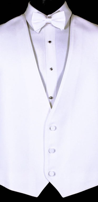 White Bartlett Vest by Allure for Men. Shown with White Satin Bow Tie.