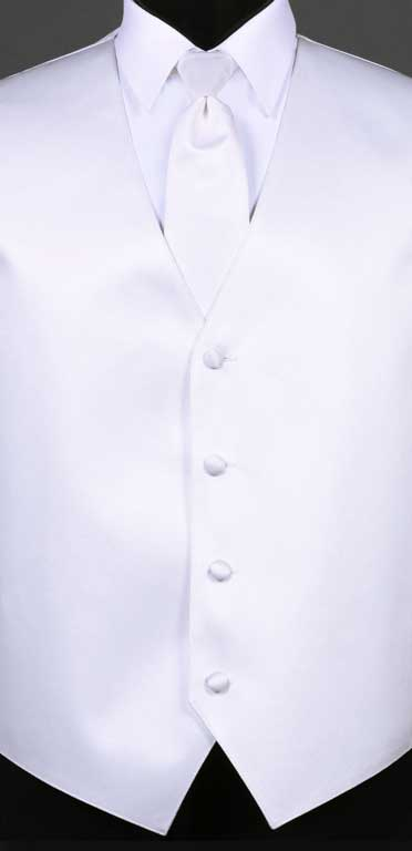 White simply solid vest with matching Windsor tie