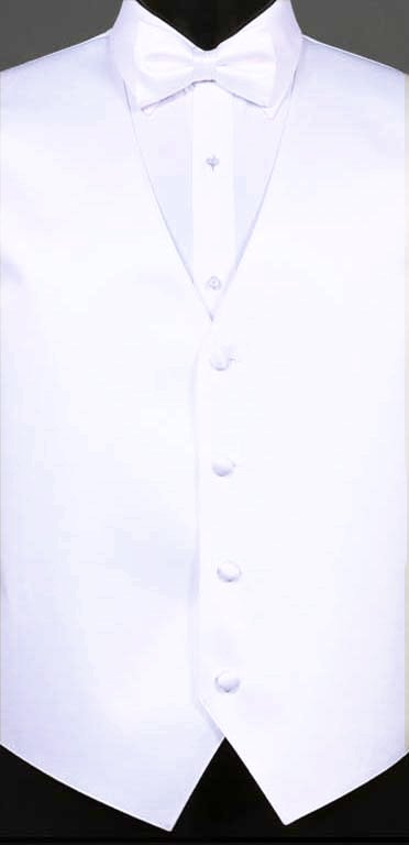 White simply solid vest with matching bow tie