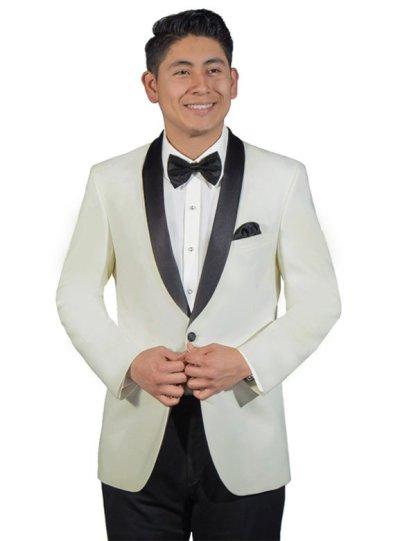 Ivory Dawson tuxedo with black satin shawl lapel
