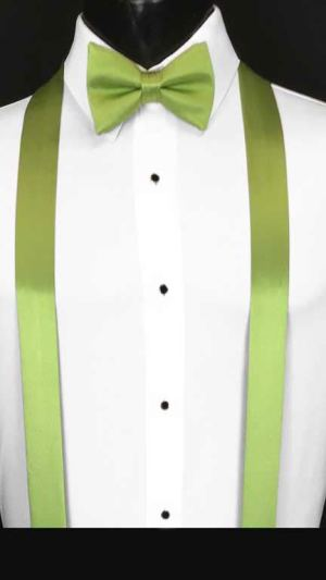 Apple Green simply solid suspenders with matching bow tie