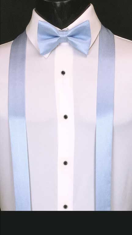 Baby Blue simply solid suspenders with matching bow tie