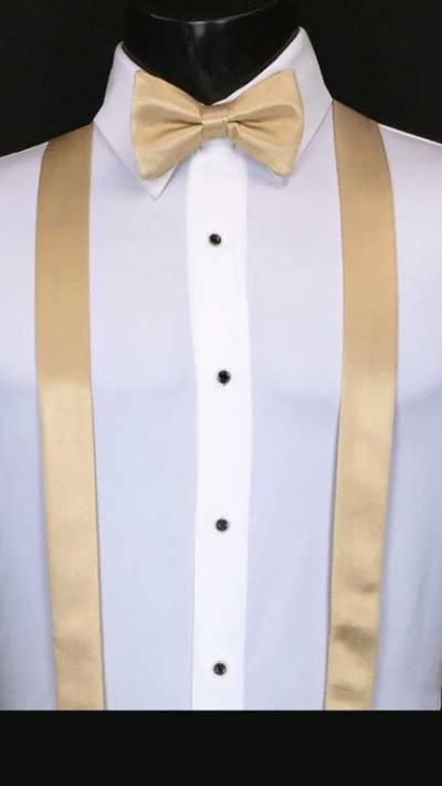Golden simply solid suspenders with matching bow tie