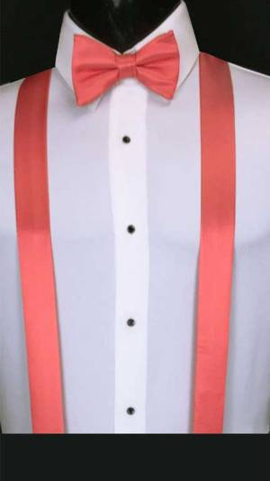 Guava simply solid suspenders with matching bow tie