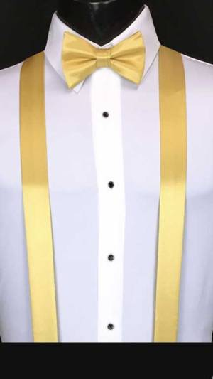 Maize simply solid suspenders with matching bow tie