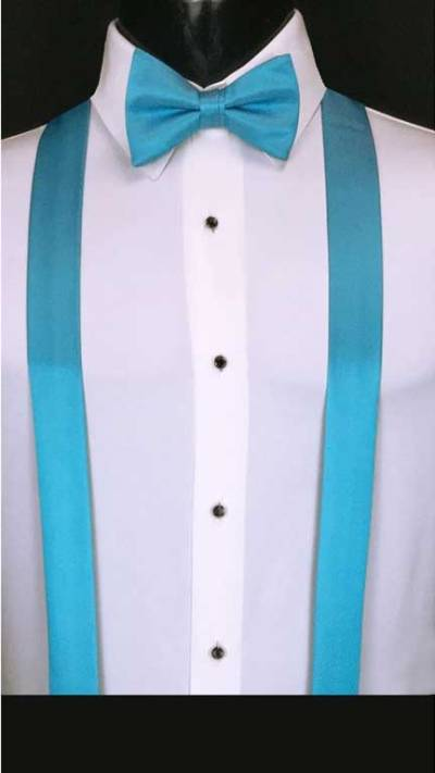Malibu simply solid suspenders with matching bow tie
