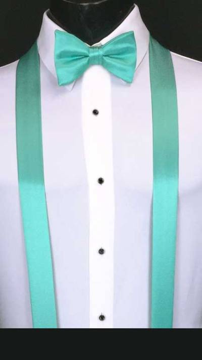 Mermaid simply solid suspenders with matching bow tie