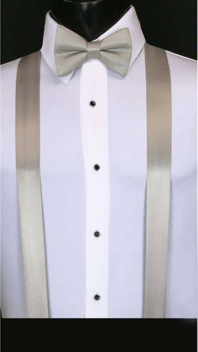 Moonlight (silver) simply solid suspenders with matching bow tie
