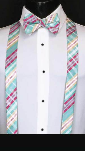 Plaid suspenders in aqua, fuchsia, and white with matching bow tie