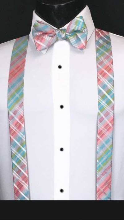 Plaid suspenders in pink, grey, lime and blue with matching bow tie