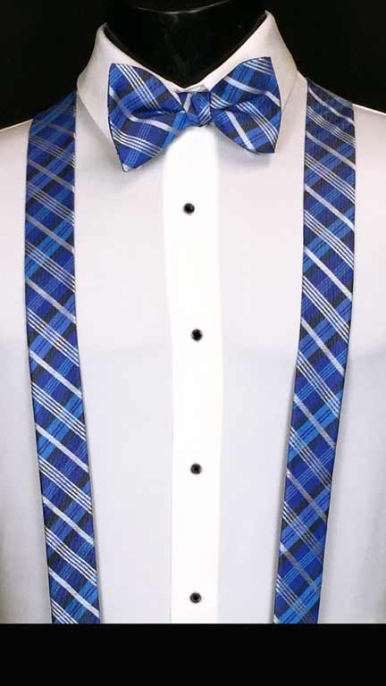 Plaid suspenders in royal, marine and cornflower with matching bow tie