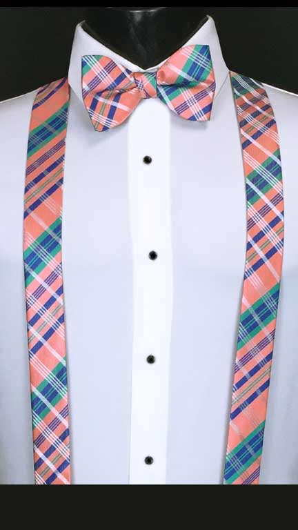 Plaid suspenders in salmon, blue and green with matching bow tie