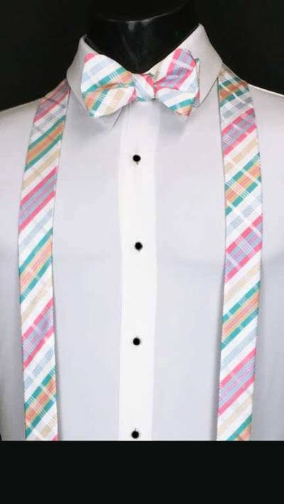 Plaid suspenders in white, pink, and blue with matching bow tie