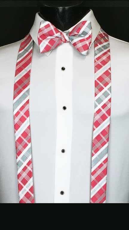 Plaid suspenders in white, pink, and grey with matching bow tie