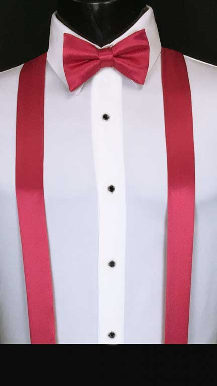 Watermelon simply solid suspenders with matching bow tie