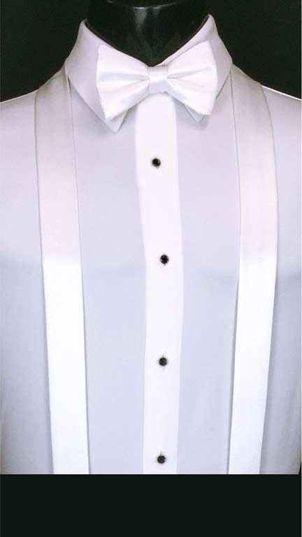White simply solid suspenders with matching bow tie