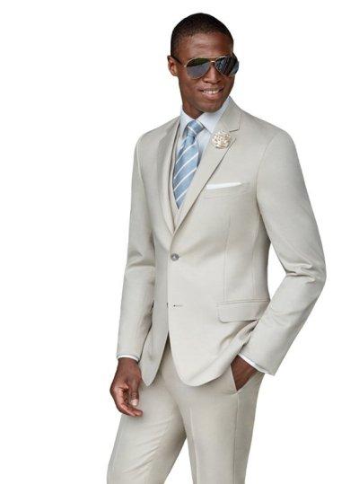 Tan Wedding Suit by Ike Behar
