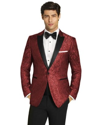 Red Paisley Tuxedo with Black Peak Lapel