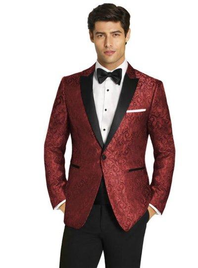 Red Paisley Tuxedo with Black Peak Lapel