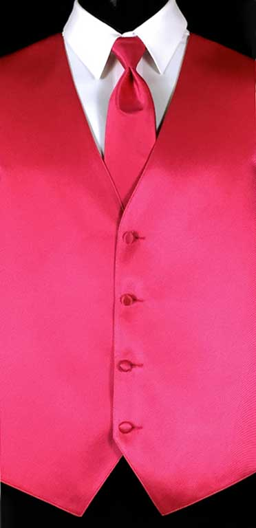 Raspberry Simply Solid Vest with Matching Windsor Tie