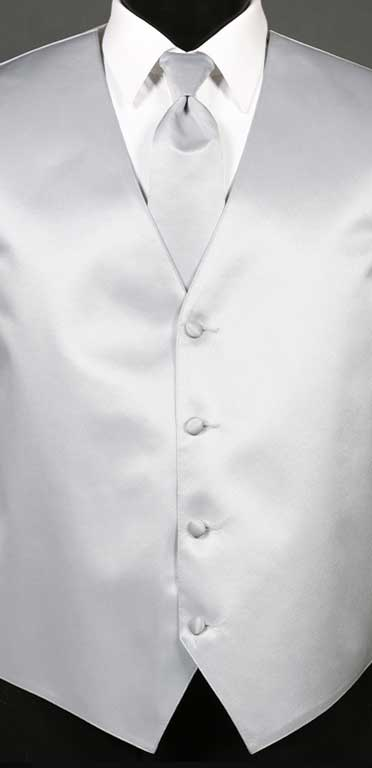 Silver Simply Solid Vest with Matching Windsor Tie