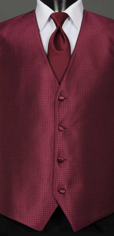 Wine Devon Vest with Wine Satin Windsor Tie
