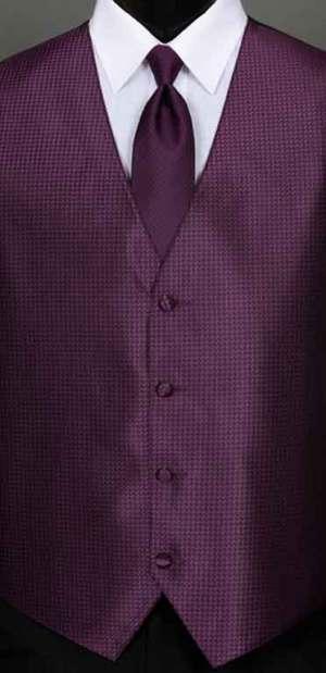 Aubergine Devon vest with matching Windsor tie