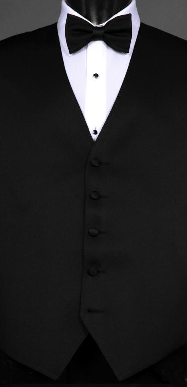 Black Satin Formal Vest with Black Bow Tie