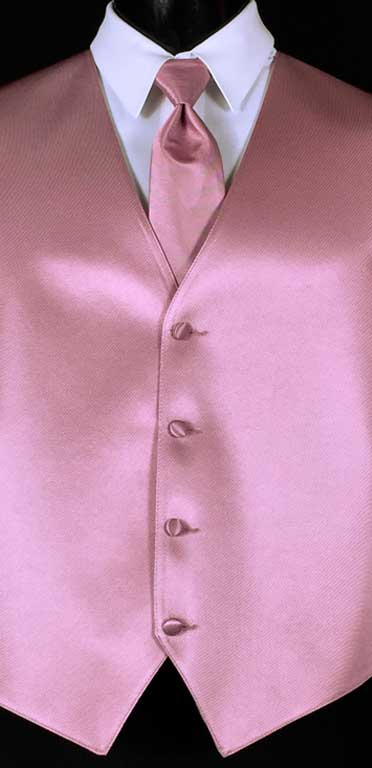 Dusty Rose Simply Solid Vest with matching Windsor tie