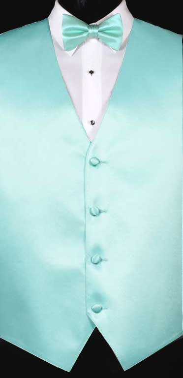 Mint simply solid vest with matching bow tie
