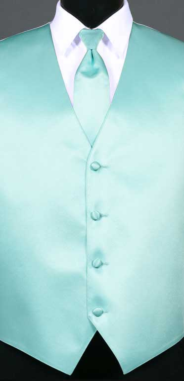 Mint simply solid vest with matching Windsor tie