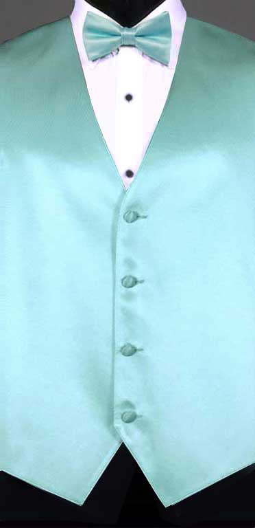 Tiffany Blue simple solid vest with matching bow tie