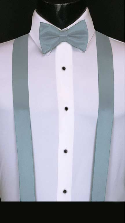 Wedgewood simply solid suspenders with matching bow tie