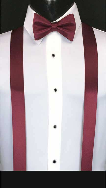 Wine simply solid suspenders with matching bow tie