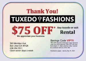 $75 off thank you coupon for any suit or tuxedo rental