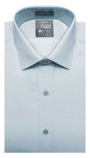 Blue fitted shirt in a laydown spread collar can be worn with a suit or tuxedo