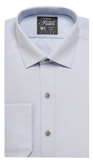 Grey fitted shirt in a laydown spread collar can be worn with a suit or tuxedo