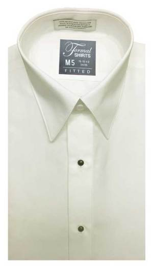 Ivory fitted shirt in a laydown collar can be worn with a suit or tuxedo