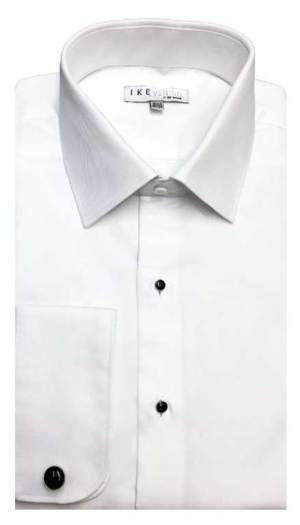 White cotton fitted shirt in a laydown spread collar can be worn with a suit or tuxedo