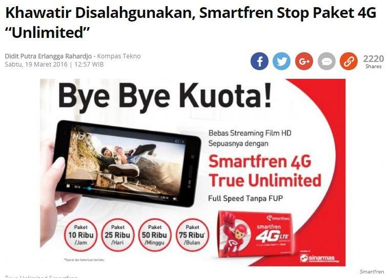 Smartfren 4G True Unlimited Bakal Distop, Siap-siap Jual Andromax! 1