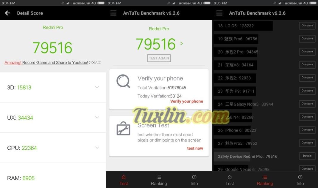 Benchmark AnTuTu v6 Xiaomi Redmi Pro