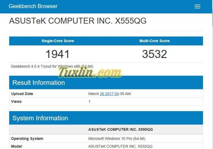 Benchmark Geekbench 4 Asus X555QG BX101D