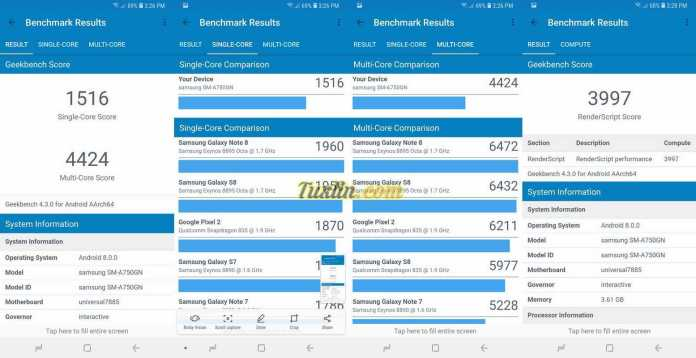Benchmark Geekbench 4Samsung Galaxy A7 2018