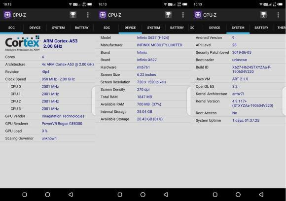 CPU-Z Infinix Smart 3 Plus