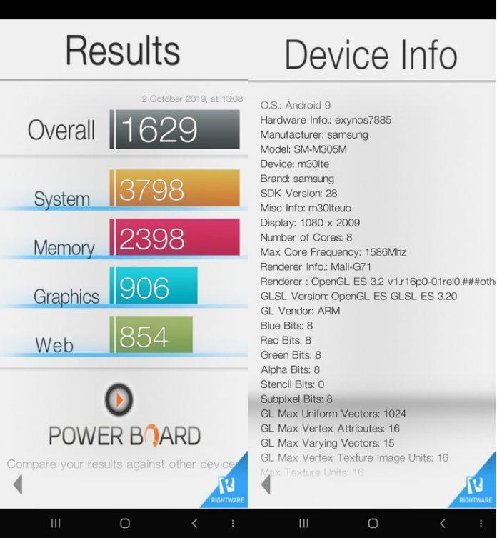 Benchmark Basemark OS II Samsung Galaxy M30