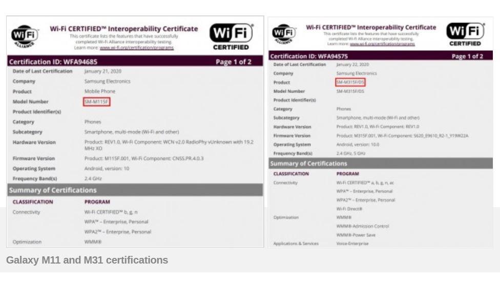 Samsung Galaxy M11, M31, dan A11 Kantongi Sertifikat Wi-Fi Alliance 2