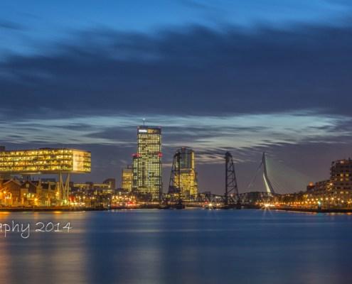 Rotterdam skyline foto by Night- Erasmusbrug - de Hef - Maastoren | Tux Photography
