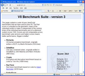V8 Benchmark-Internet Explorer 8