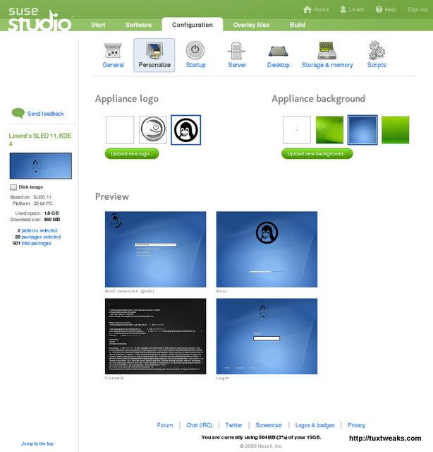 SUSE Studio Configuration-Personalize