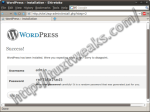 WordPress install step 6